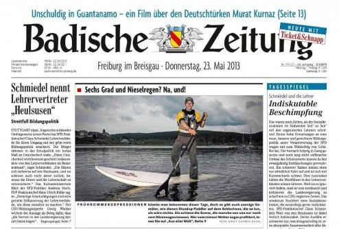 Titelseite der Badischen Zeitung vom 23. Mai 2013