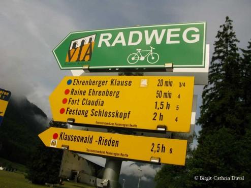 Radwegweiser Via Claudia