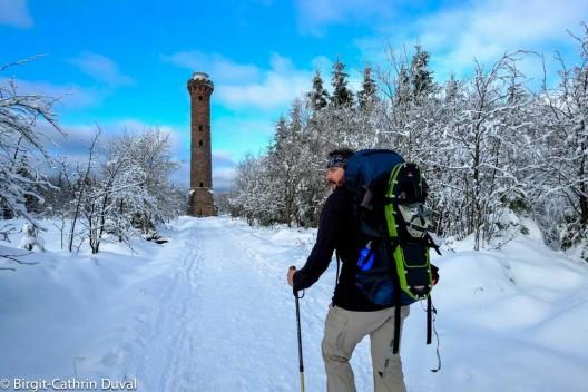 Westweg Wanderung im Winter zum Hohlohturm