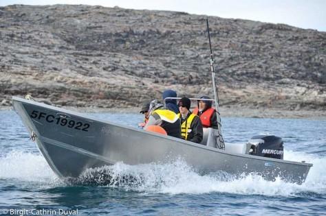 Unser Inuit-Bootsführer David braucht kein GPS, er kennt die Bay wie seine Westentasche