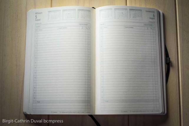 Viel Platz für die Tagesplanung auf edlem Papier