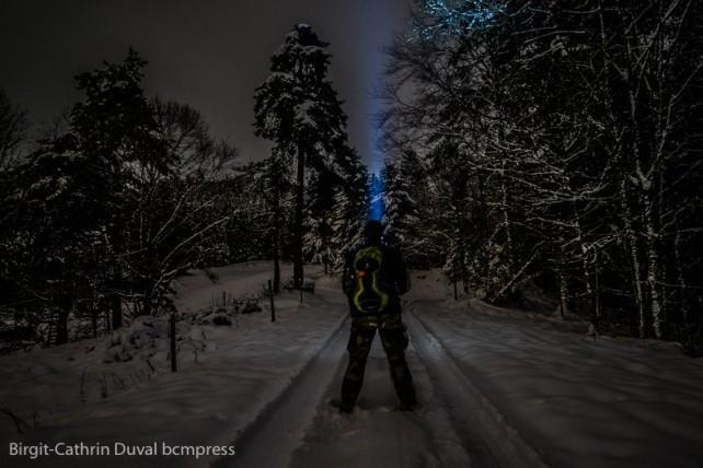 Nachtwanderung durch frischen Neuschnee