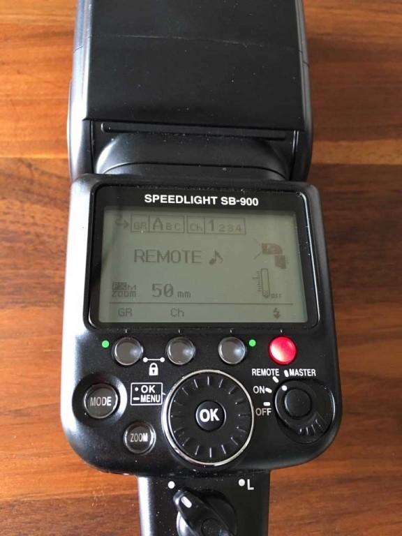 Blitzeinstellungen am Nikon SB 900 Blitzgerät