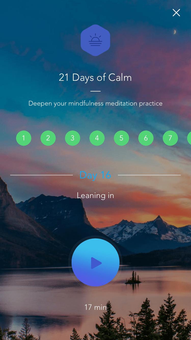 Calm bietet zahlreiche geführte Meditationen zu unterschiedlichen Themen